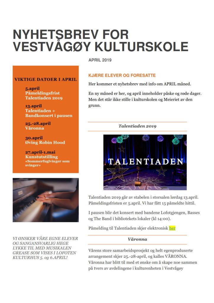 bdc8bd1e NYHETSBREV – APRIL 2019   Vestvågøy Kulturskole